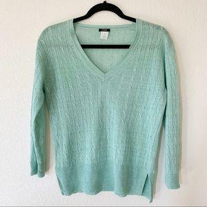 J Crew Mint Cable Knit Linen Sweater